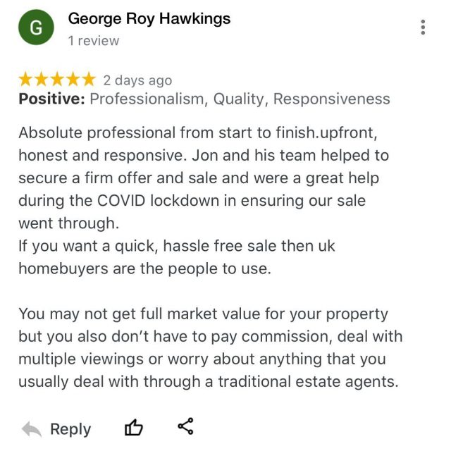 Always nice to receive positive feedback about our service!! Don't let the C-19 situation prevent you from progressing with your onward plans. Get in touch to see what we can offer you C A S H for your property; 0800 051 7645 or visit www.ukhomebuyersltd.co.uk and enter your details 💻